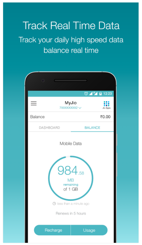 Jio Data Usage checking App